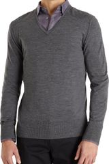 John Varvatos Ribbed Shoulder Vneck Sweater - Lyst