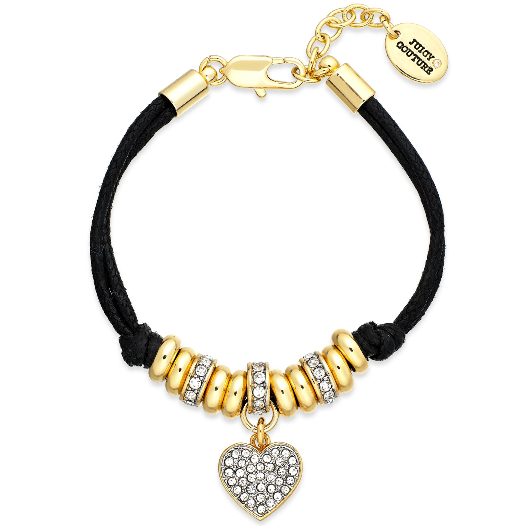 lyst black no bracelet couture heart product corded in color juicy jewelry gallery goldtone pave