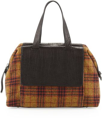 L.a.m.b. Angel Plaid Combo Satchel Bag Brown - Lyst