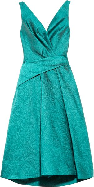 Lela Rose Brocade Wrap Effect Dress - Lyst