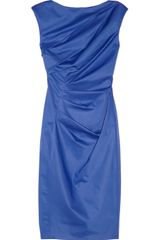 Lela Rose Draped Cottonblend Taffeta Dress - Lyst