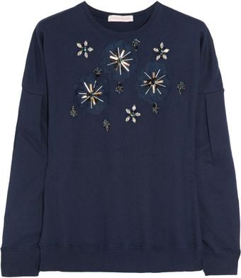 Matthew Williamson Embellished Cotton Jersey Sweatshirt - Lyst