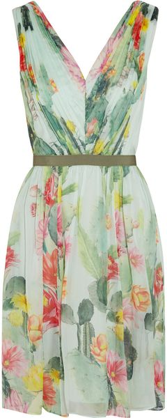 Matthew Williamson Cactus Garden Printed Silk Chiffon Dress - Lyst