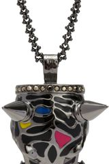 Mawi Crystal Enamel Panther Pendant Necklace - Lyst