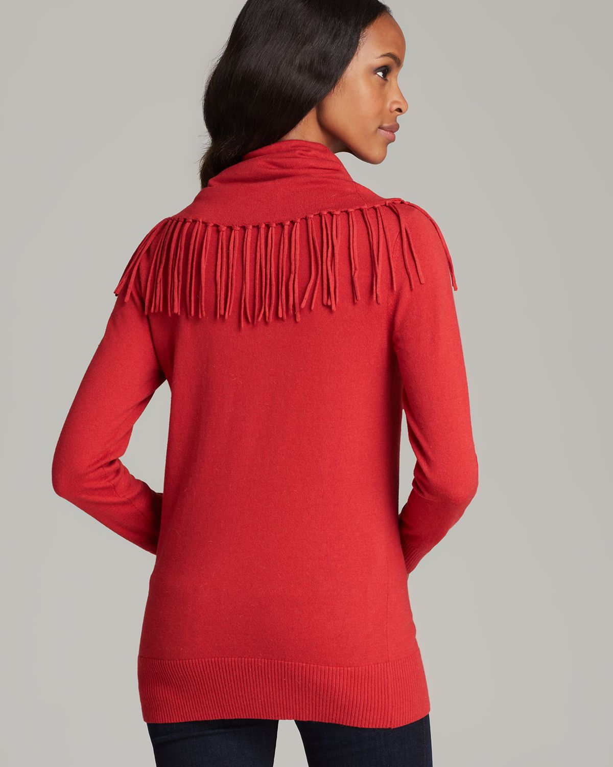 Michael michael kors Fringe Cowl Neck Sweater in Red | Lyst