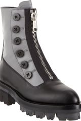 Miu Miu Bi-Color Center-Zip Ankle Boot - Lyst