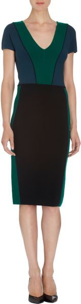 Narciso Rodriguez Colorblock Short Sleeve Dress - Lyst