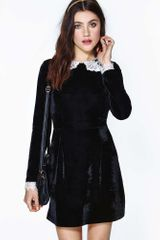 Nasty Gal Wednesday Velvet Lace Dress - Lyst