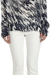Nili Lotan Waveprint Long Sleeve Blouse - Lyst