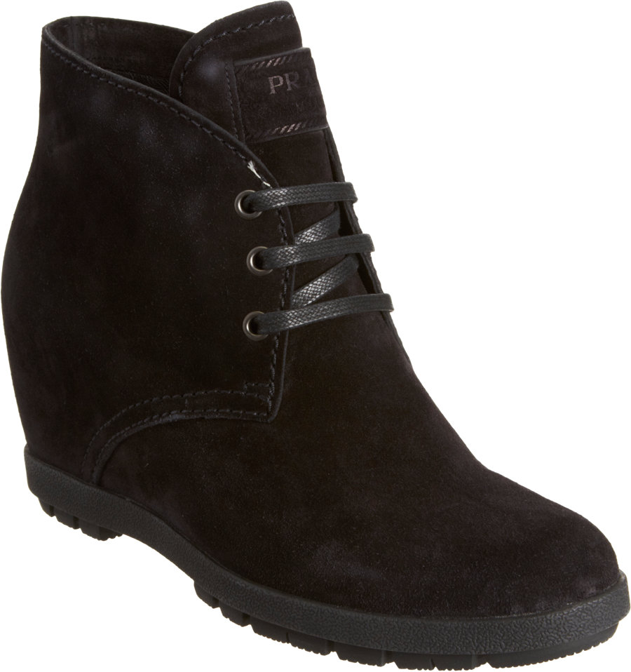 Lyst Prada Hidden Wedge Desert Ankle Boot In Black