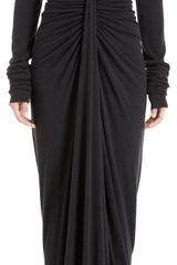 Rick Owens Cowl Neck Long Sleeve Dress - Lyst