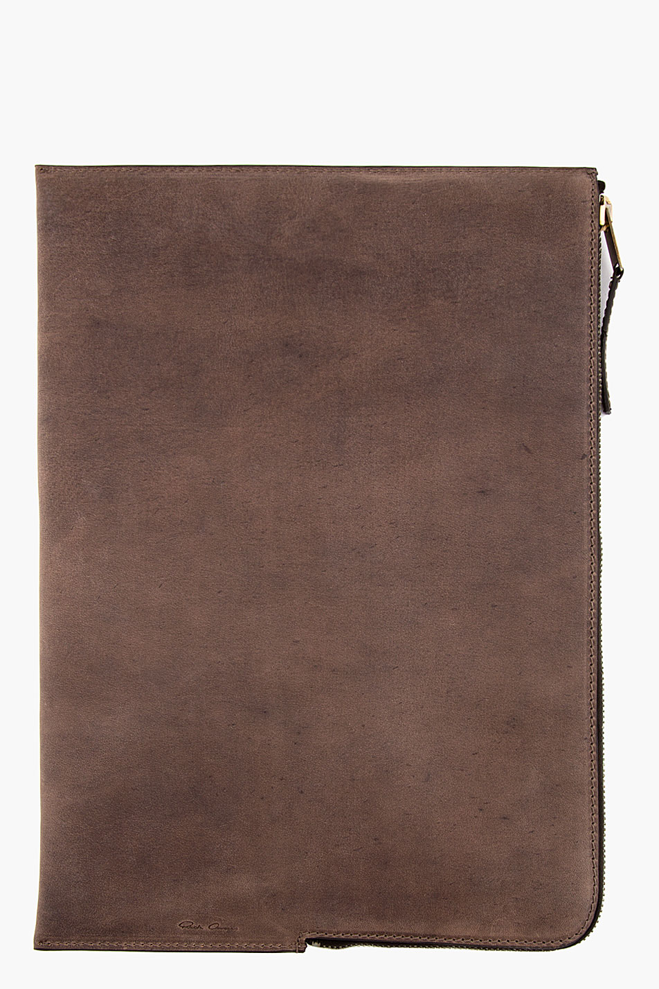 rick owens brown leather document case in brown for men lyst With mens leather document case