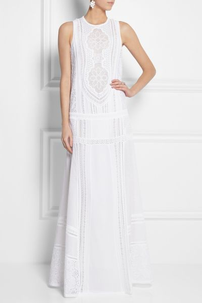 Roberto Cavalli Cotton And Crocheted Lace Maxi Dress In