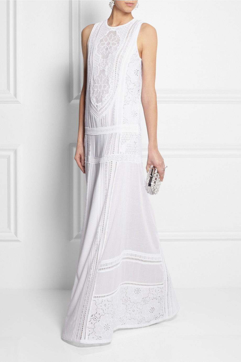 318021f3aad Lyst Roberto Cavalli Cotton And Crocheted Lace Maxi Dress In White