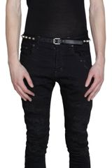 Saint Laurent Distressed Fivepocket Slim Jeans - Lyst
