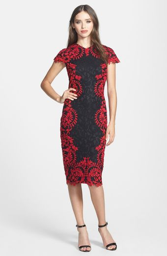 Tadashi Shoji Embroidered Detail Lace Sheath Dress - Lyst