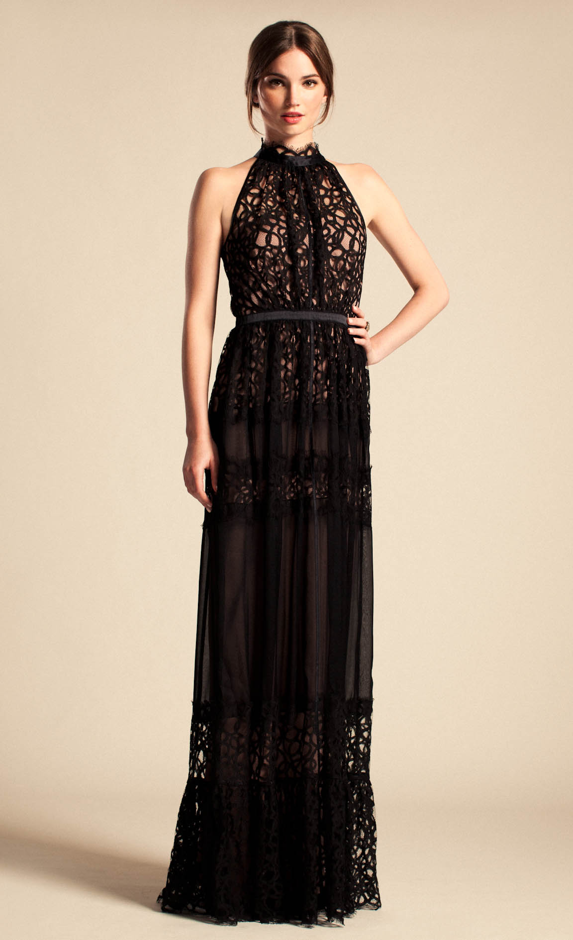 Lyst Temperley London Long Lily Graphic Dress In Black