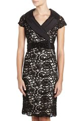 Teri Jon Shawlcollar Lace Dress Black - Lyst