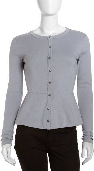 Three Dots Flaredhem Cardigan Gray Sky - Lyst