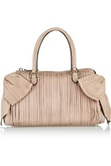 Valentino Bow embellished Pleated Leather Bag - Lyst