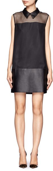 3.1 Phillip Lim Leather Collar And Hem Shift Dress - Lyst