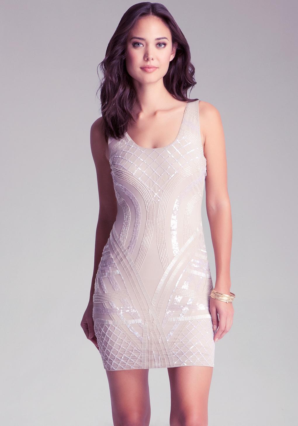 bebe open back beaded dress in white lyst