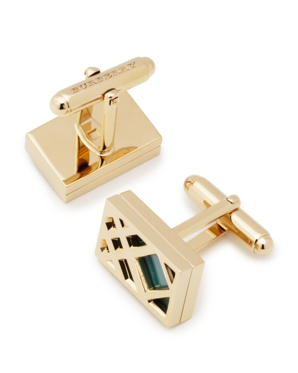 Burberry CHECK EMBOSSED METAL CUFFLINKS