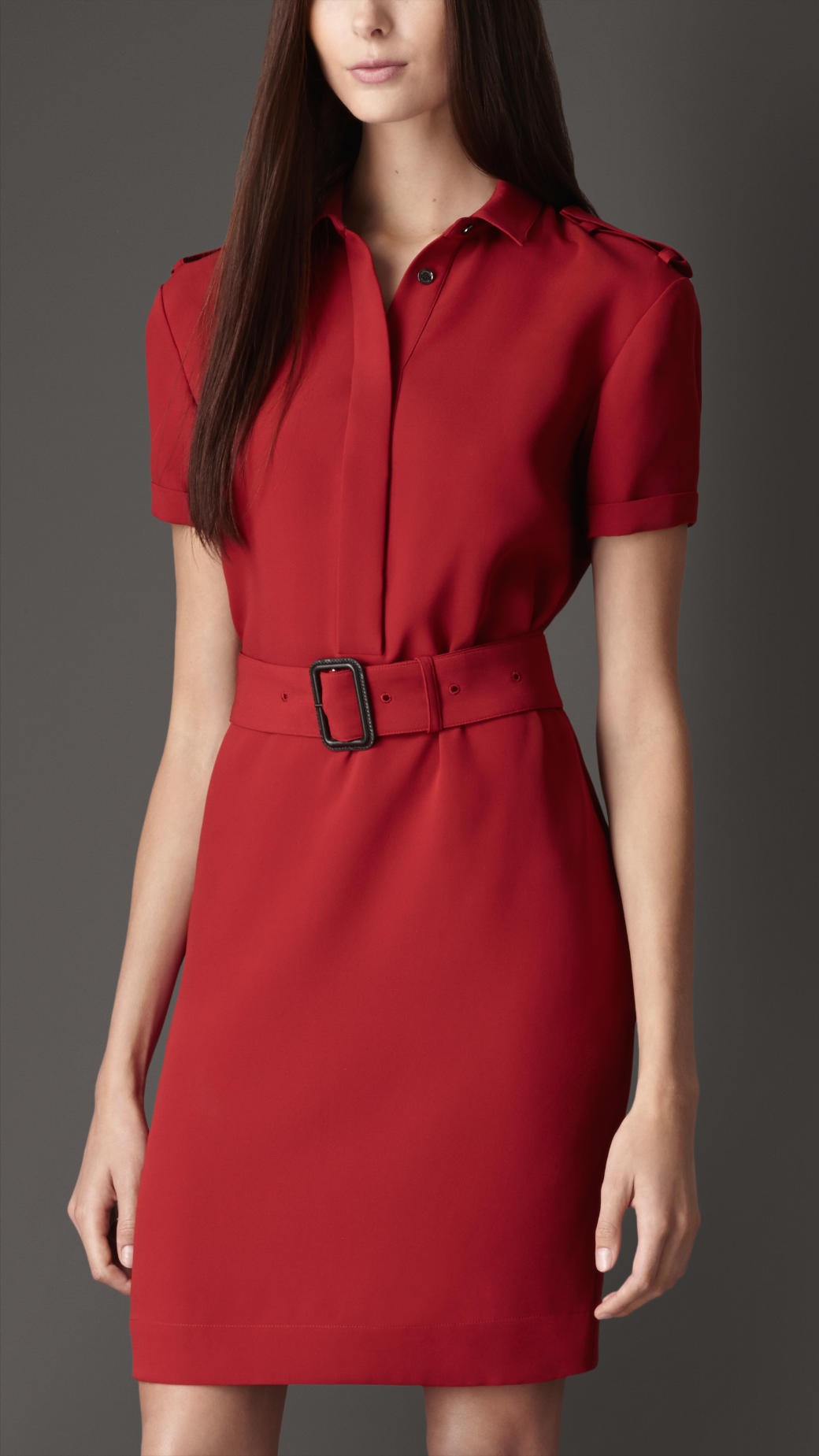 Burberry Double Georgette Silk Shirt Dress In Red Lyst
