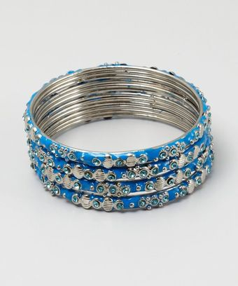 Chamak By Priya Kakkar Set Of 4 Blue Enamel and Crystal Bangles - Lyst