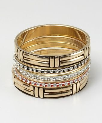 Chamak By Priya Kakkar Set Of 5 Gold Black and Red Enamel and Crystal Bangles - Lyst