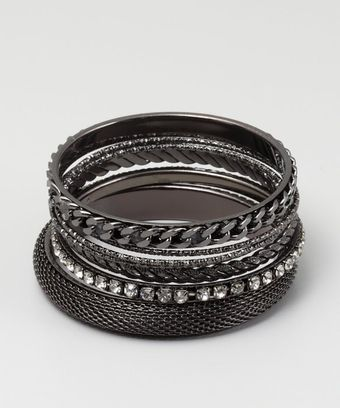 Chamak By Priya Kakkar Set Of 7 Gunmetal Chain And Crystal Bangles - Lyst