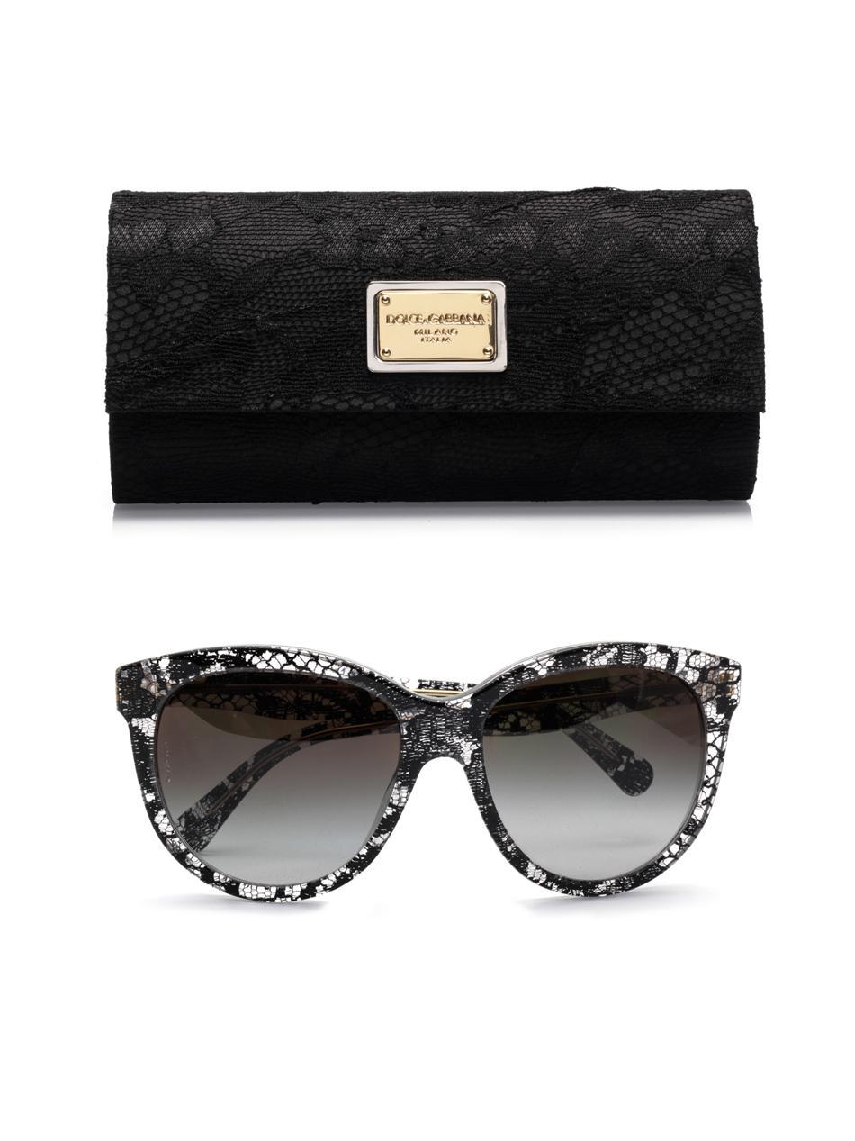 dd3761e0603b Lyst - Dolce   Gabbana Lace Acetate Sunglasses in Black