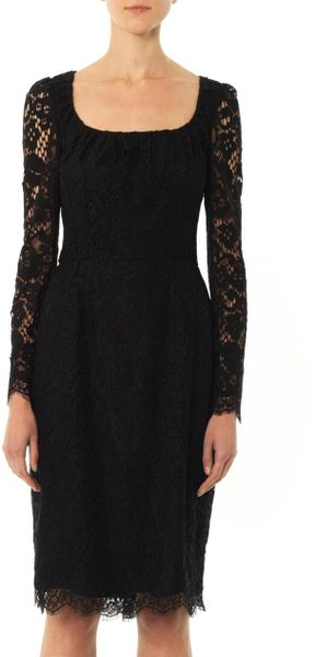 Dolce Amp Gabbana Lace Long Sleeved Dress In Black Lyst