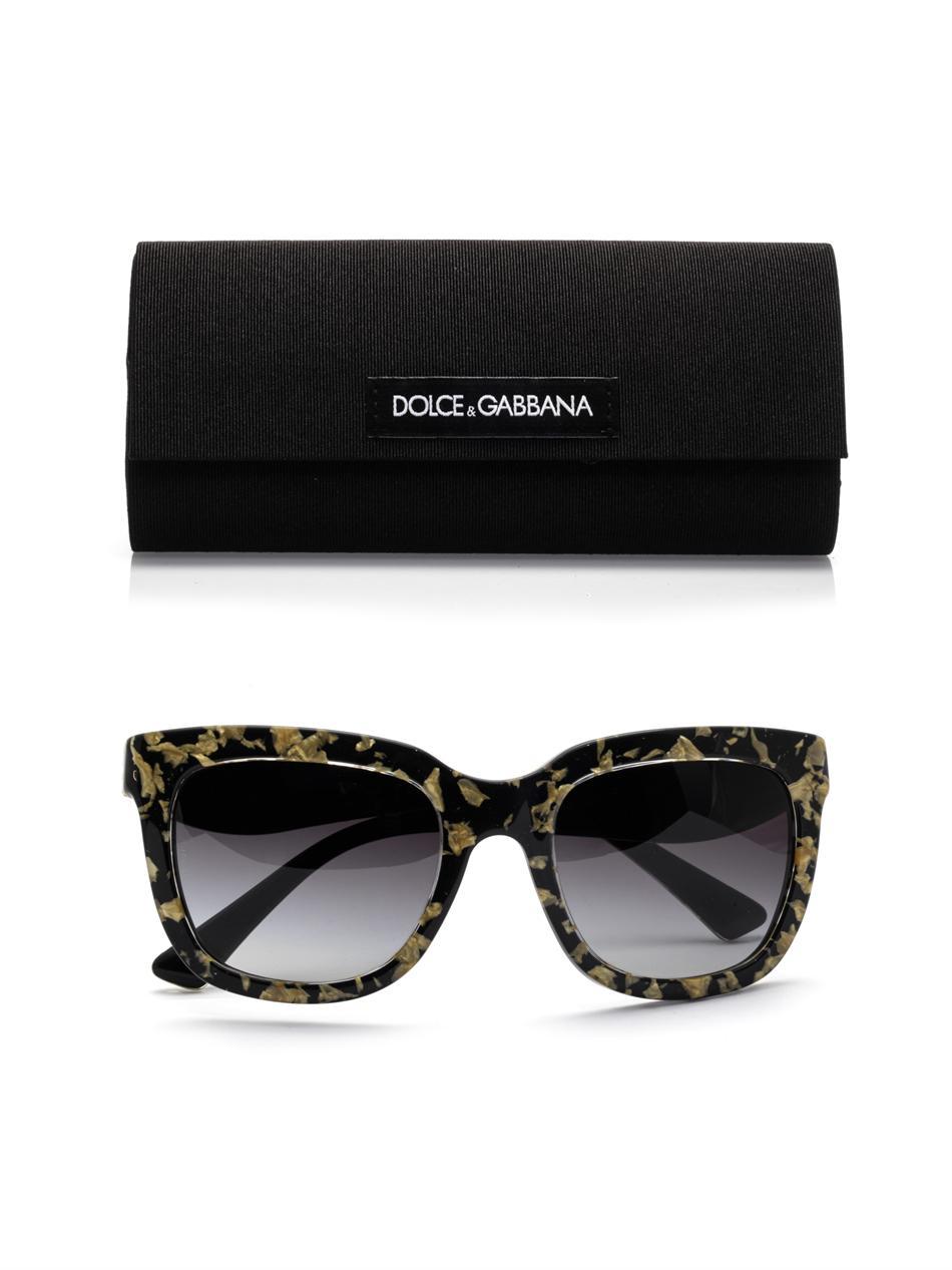 0174a31b8da53 Gabbana Metallic amp  Dolce Inlay In Lyst Gold Sunglasses Leaf Square EgUgHw
