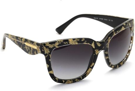 Dolce And Gabbana Gold Frame Sunglasses : Dolce & Gabbana Gold Leaf Inlay Square Sunglasses in Gold ...
