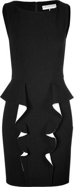 Emilio Pucci Wool Blend Ruffle Front Dress - Lyst