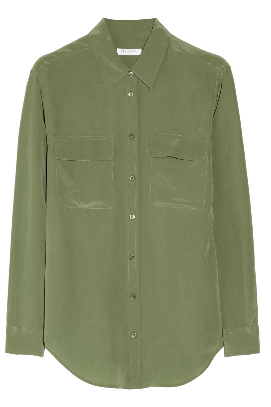 equipment signature washed silk shirt in green sage lyst