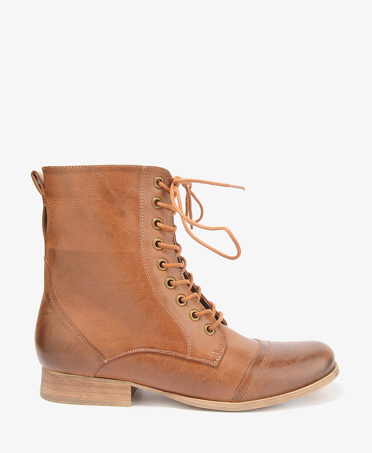 forever 21 zippered lace up boots in brown lyst