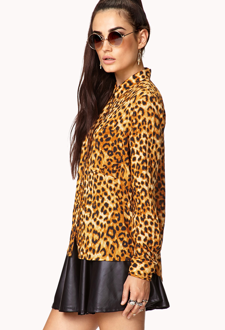 db3573586dc Forever 21 Yellow Graphic T Shirt Source · Leopard Print Blouse Forever 21