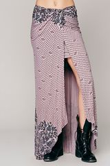 Free People Printed Knit Column Skirt - Lyst