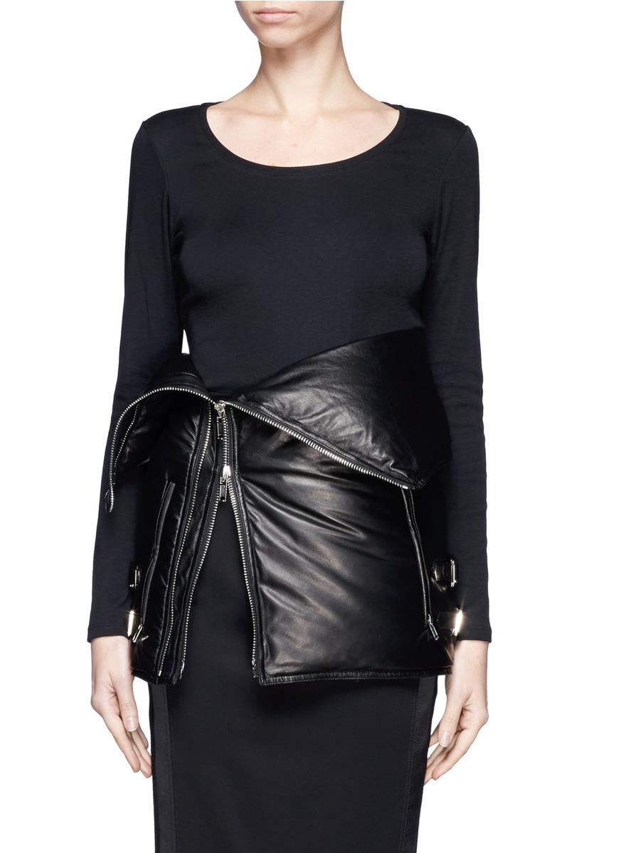 Givenchy Leather Puffer Down Corset Belt In Black
