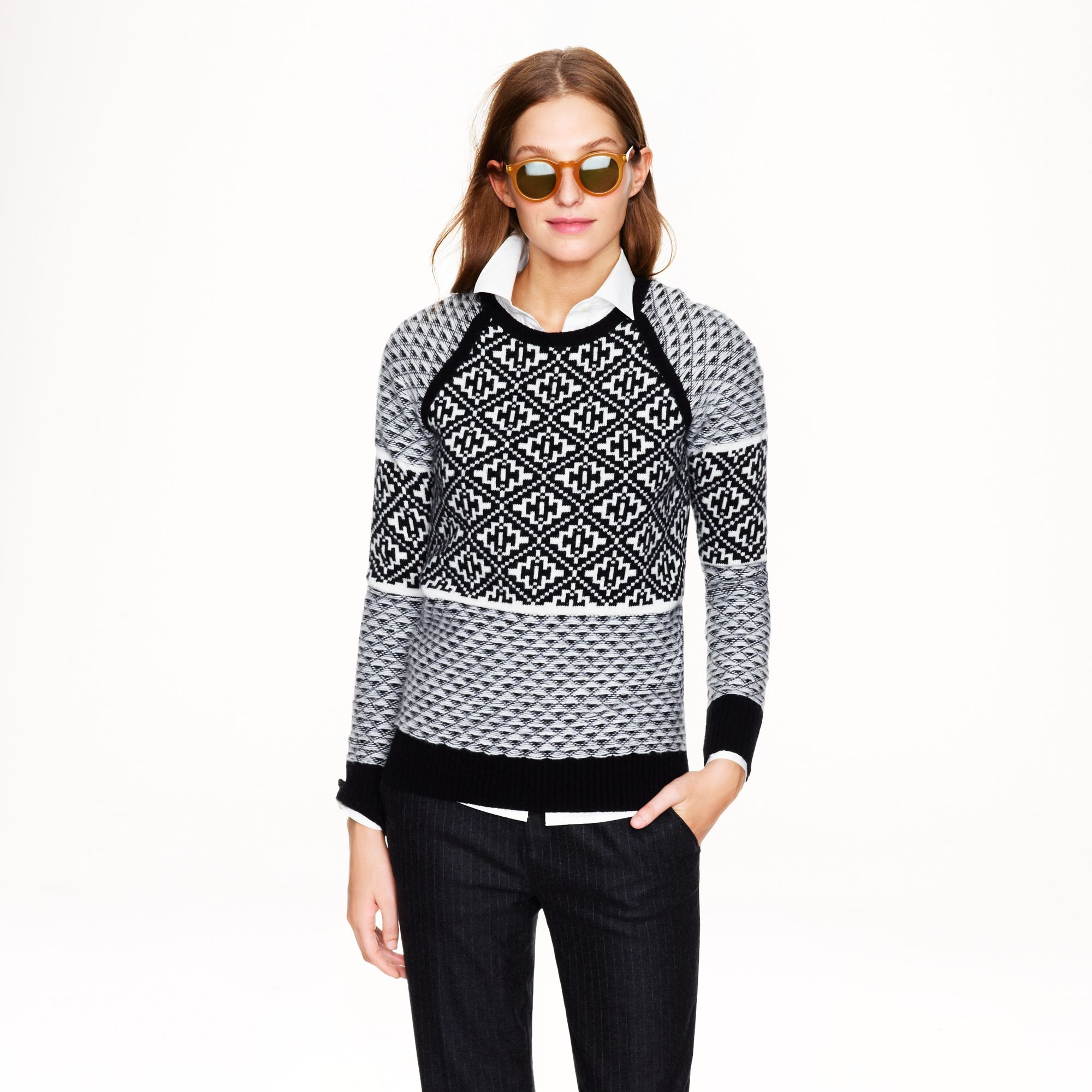 J.crew Handkerchief Fair Isle Sweater in White | Lyst