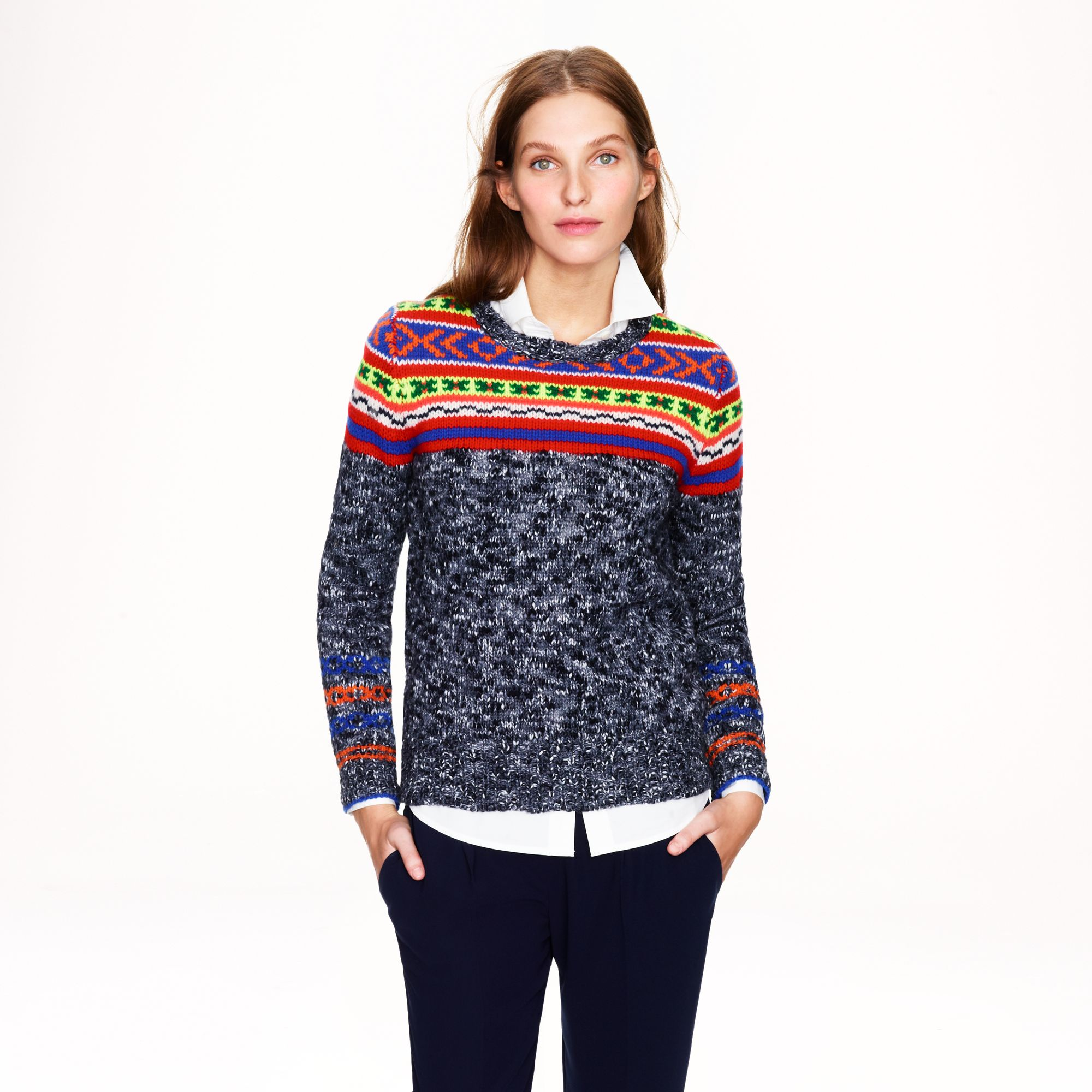 J.crew Marled Fair Isle Sweater in Gray | Lyst