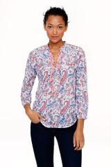 J.Crew Liberty Embroidered Bib Peasant Top in Aaron Paisley - Lyst