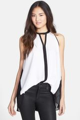 Kenneth Cole Maude Color Block Sleeveless Keyhole Blouse