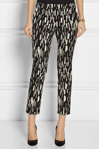 Lela Rose Caroline Cropped Patterned Stretch Cottonblend Pants - Lyst