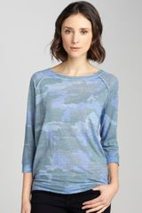 Majestic Medium Blue Green Three Quarter Sleeve Boatneck Tee - Lyst