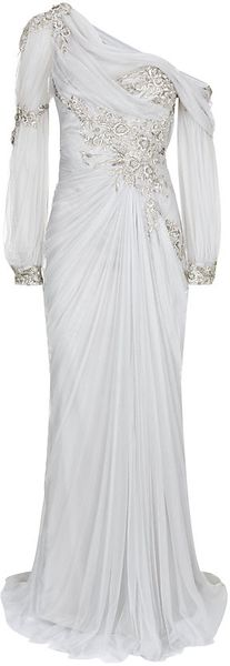 Marchesa Embroidered Draped Tulle Gown - Lyst