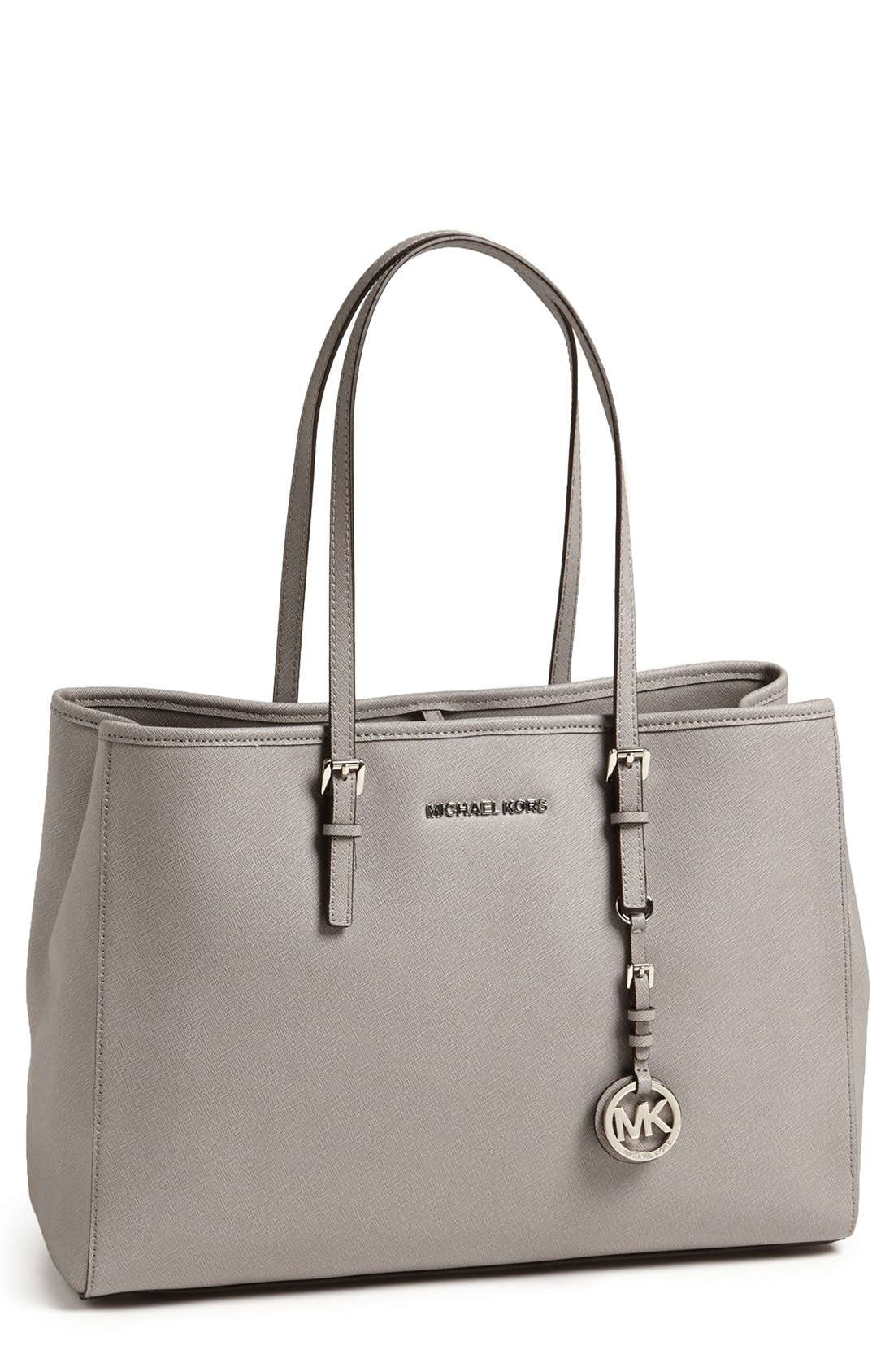 michael michael kors 39 jet set large 39 saffiano leather tote in gray. Black Bedroom Furniture Sets. Home Design Ideas