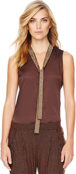 Michael Kors Michael Beaded Tie Neck Blouse - Lyst